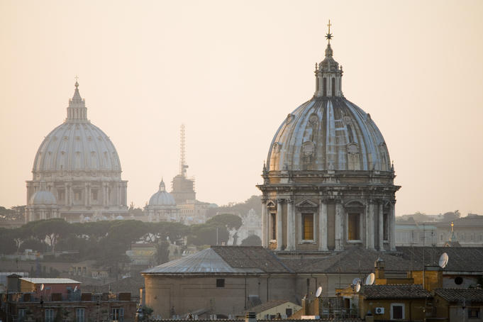 St Maria Maggiore, foreground, with St Peter's Basillica beyond, from Capitoline Hill.