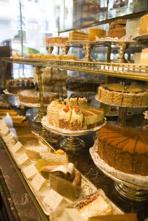 Layers of indulgence: the cake servery at Demel.
