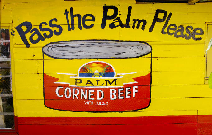 Hand painted advertisement for Corned Beef.