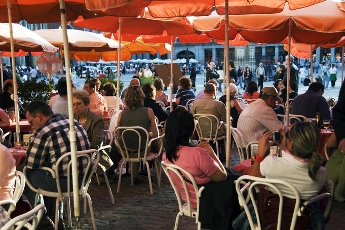 Open-air cafes on Plaza Mayor.