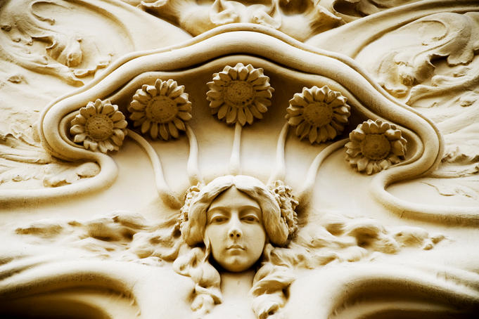 Facade detail of Art-Nouveau building, Sociedad General de Autores y Editores.