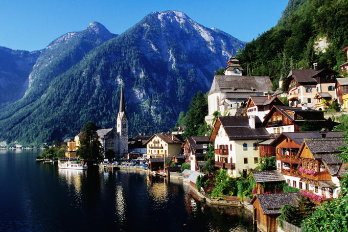 Picturesque Hallstatt (Austria), overlooking the lake with mountains in background.