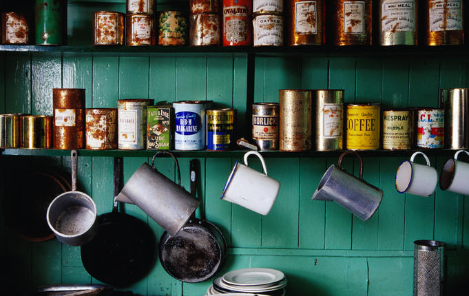 Kitchen shelves in museum at British Antarctic Survey Base A, Port Lockroy.