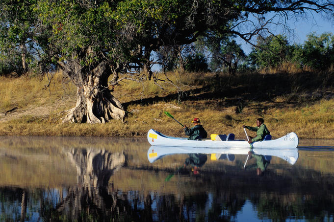 Kayaking down Zambezi river near Victoria falls.