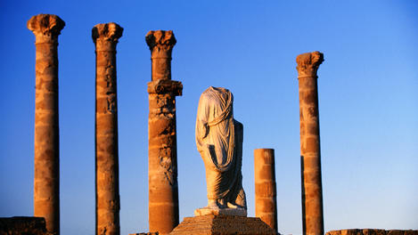 Columns and sculptures, Roman ruins, Sabratha