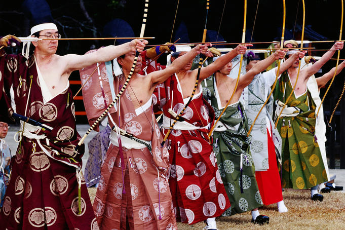 Archers in traditional dress at a contest at Kamigamo-Jinja.