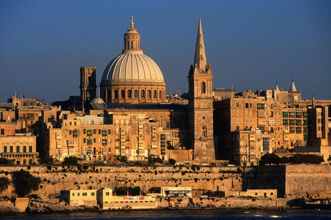 St Paul's tower and dome of Carmelite Church from Sliema.