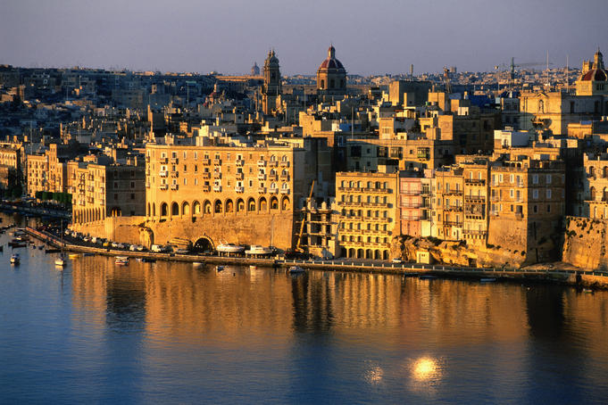 Overhead of waterfront from Valletta.
