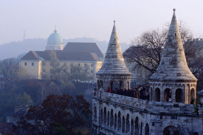 The Fisherman's Bastion with Gellert Hill in the background.