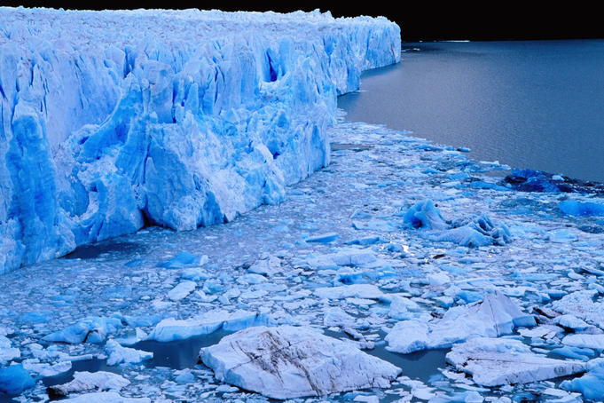 Perito Moreno Glacier & floating ice in iceberg channel.