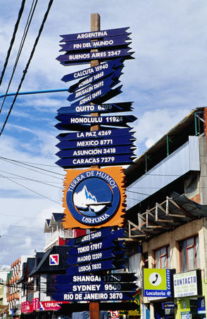 Sign post on St Martin, Ushuaia's main street.