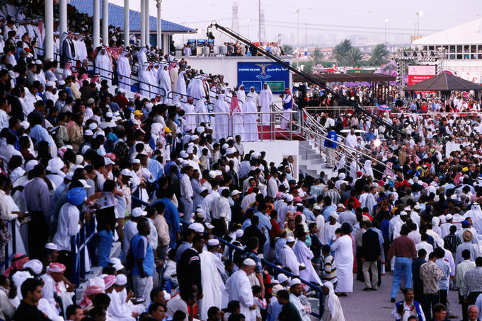 Dubai Royalty and VIPs at Nad Al Sheba Racecourse's Maktoum Grandstand on Dubai World Cup Day.