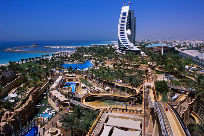 Wild Wadi Waterpark spreads around the foot of the Jumeira Beach Hotel.