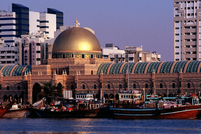 Al Majarrah Souk on the south bank of Khaled Lagoon.