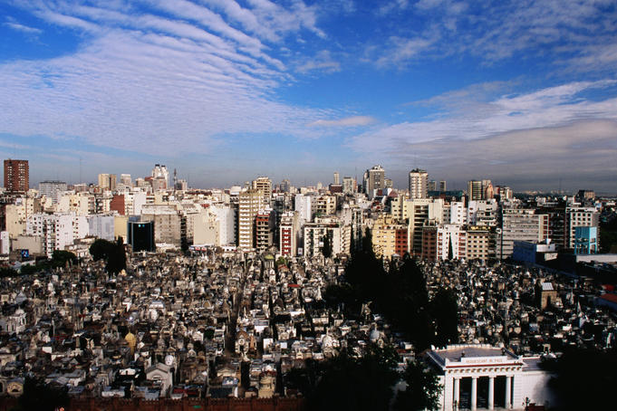Looking over Recoleta Cemetery towards the city.