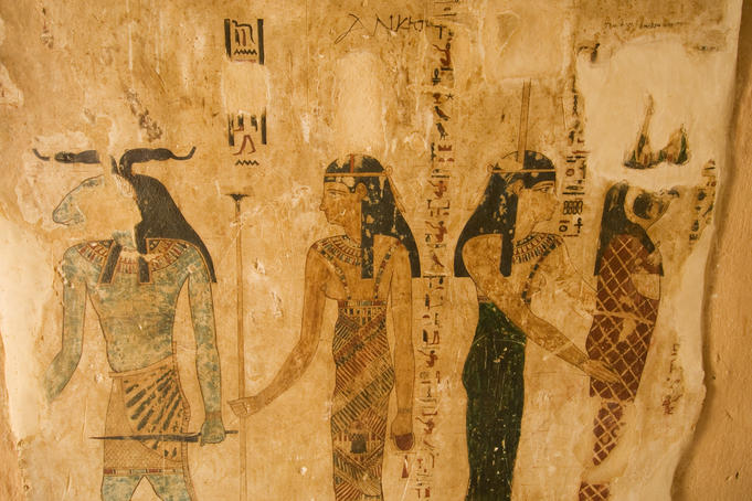 Ancient painting in tomb of Si Amun, mountain of the dead.