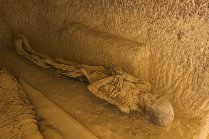Mummies in tomb on the mountain of the dead.