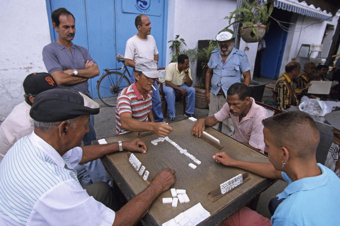 Domino players in a little square of Old Havana.