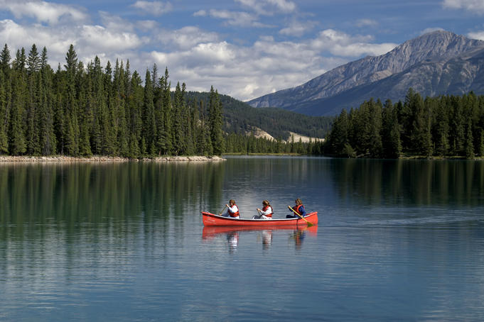 Canoeists on Medicine Lake.