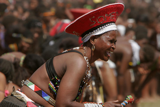 Female dancer, Zulu reed dance.