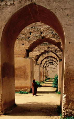 Archways of old granary in Meknes.