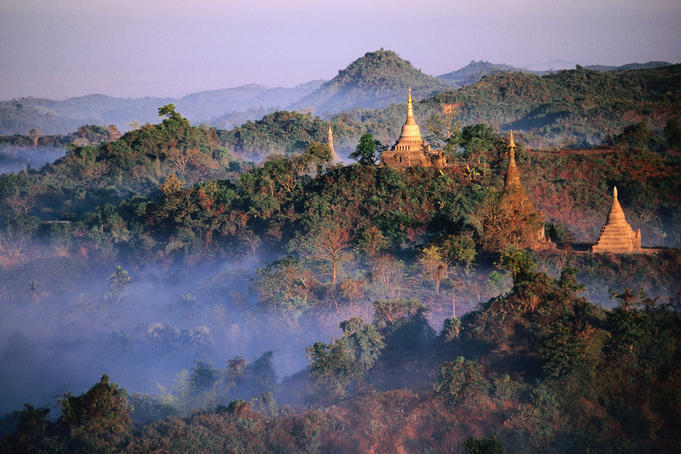 Temples and jungle at sunrise.
