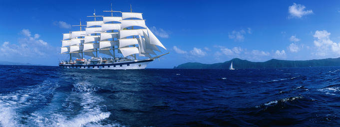 Royal Clipper under sail in the Caribbean.