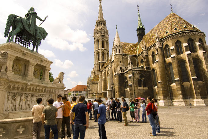 Matthias Church and statue of Saint Stephen.
