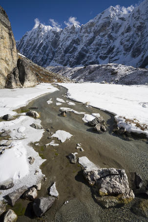 Small stream flowing beside lateral moraine of Upper Langtang Glacier.
