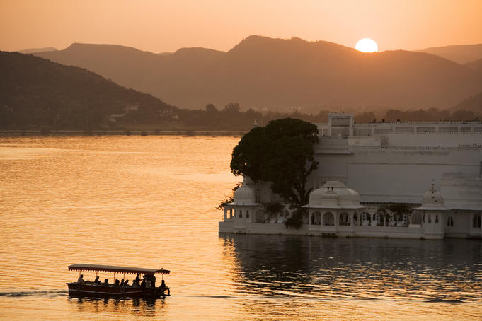 Sunset over Jagniwas Island on Lake Pichola.