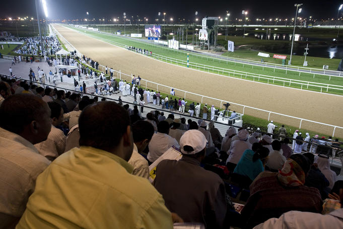 Racetrack from grandstand at Nad Al Sheba Racetrack.
