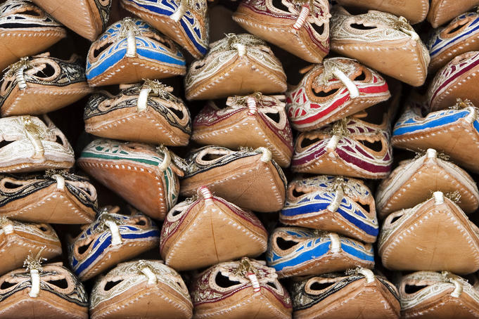 Sandals made from camel skins in Bur Dubai souq.