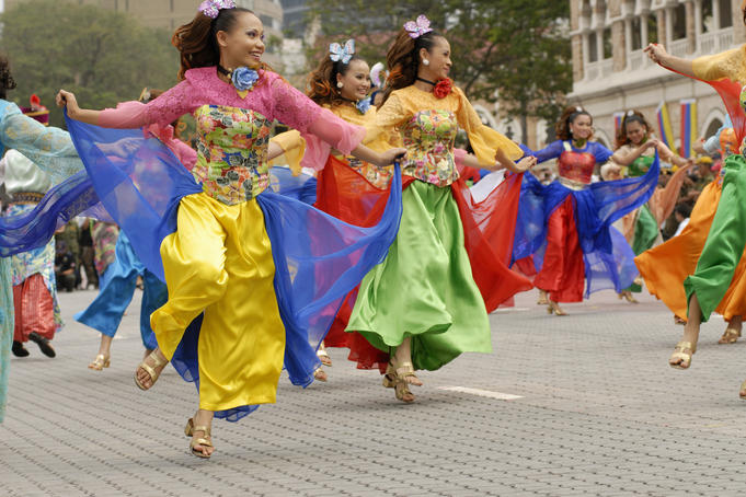 Malay dancers in traditional dress, performing at Kuala Lumpur City Day Commemoration.