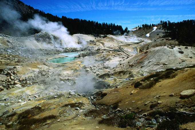 Steam rising in Bumpass Hell - Lassen Volcanic National Park, California