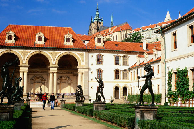 Baroque Valdstejnska Gardens and Prague Castle, Mala Strana.