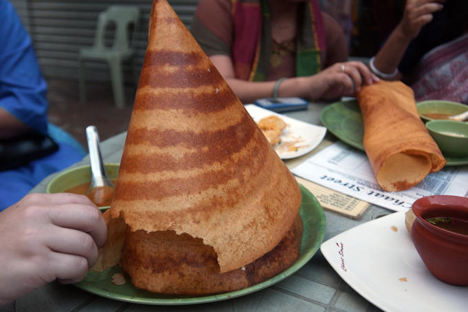 Dosa, large, flat bread, served at Chaat Street, series of outdoor cafes near Gulshan 1 circle.