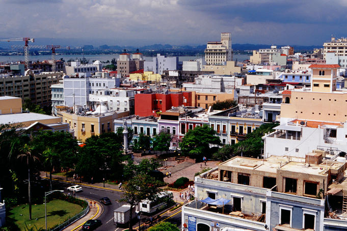Columbus Plaza (Plaza de Colon) & Old San Juan.