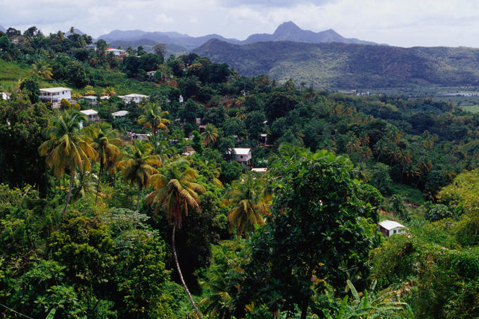 Village on slopes of Roseau Valley in Southern St Lucia.