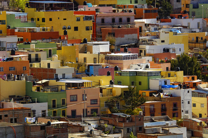 Colourful house facades, Zacatecas