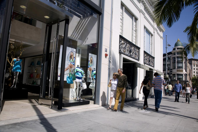 Shoppers on Rodeo Drive in front of Bebe store, Beverly Hills.