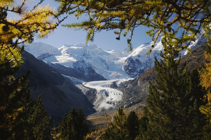 Morteratsch glacier in Morteratsch valley with snow capped mountains Bellavista and Piz Argient.