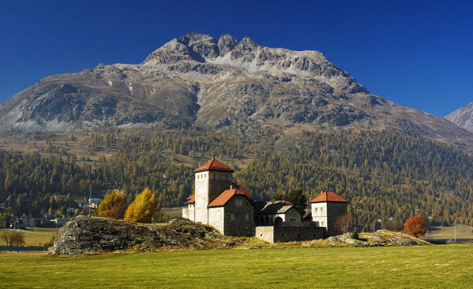 Neo-romantic Schloss Crap da Sass (castle) with Piz Albana in background, Silvaplana.