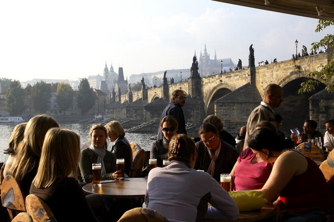 Outdoor restaurant overlooking the Vltava Moldau River.