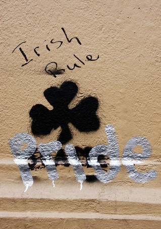 'Irish Rule - Pride' wall graffiti.