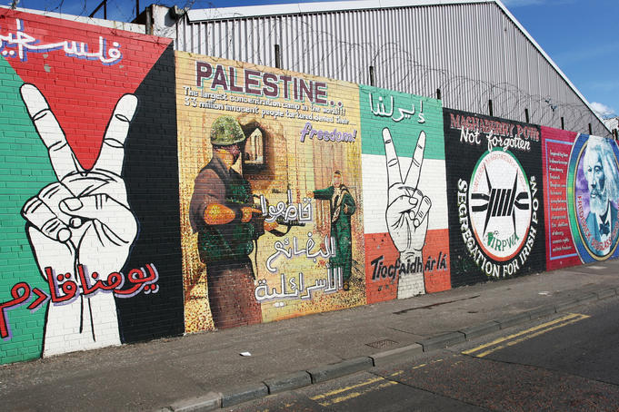 Wall murals along Falls Road.