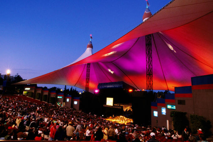 SF Symphony performing at Shoreline Amphitheater, Mountain View.