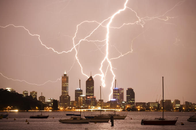 Lightning storm over Perth skyline from Matilda Bay.