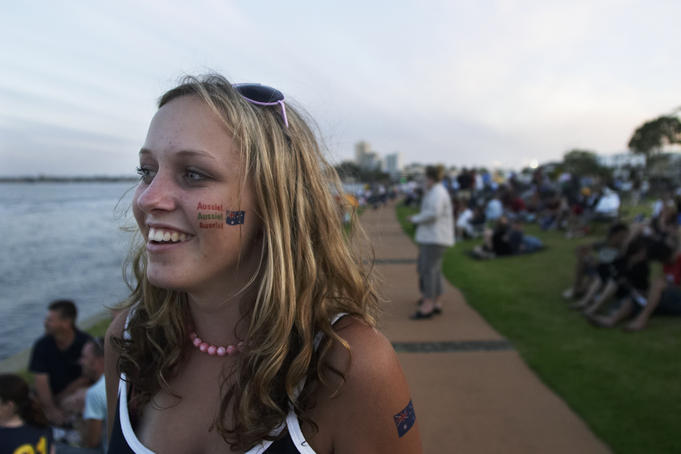 Teenage girl with Australia Day tattoos.