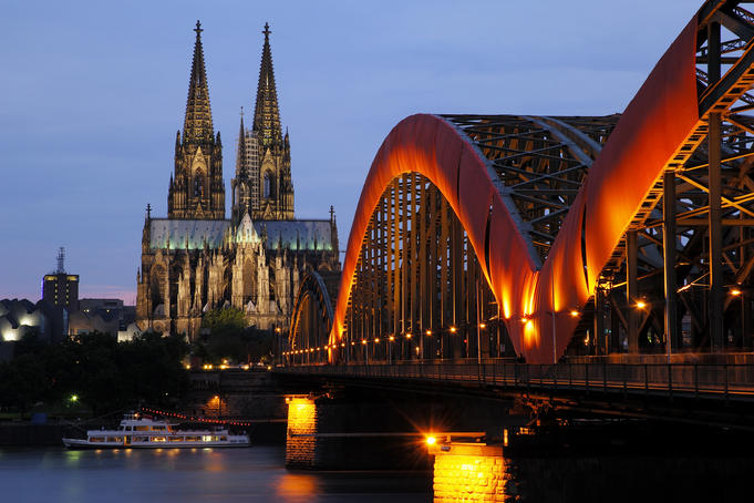 Cathedral of Cologne and Hohenzollern bridge.