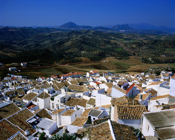 Overhead of village rooftops, Olvera
